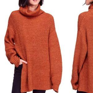 "Free People ""Eleven"" Orange Turtleneck Sweater"